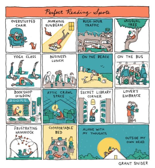 Perfect Reading Spots best cartoons by Grant Snider
