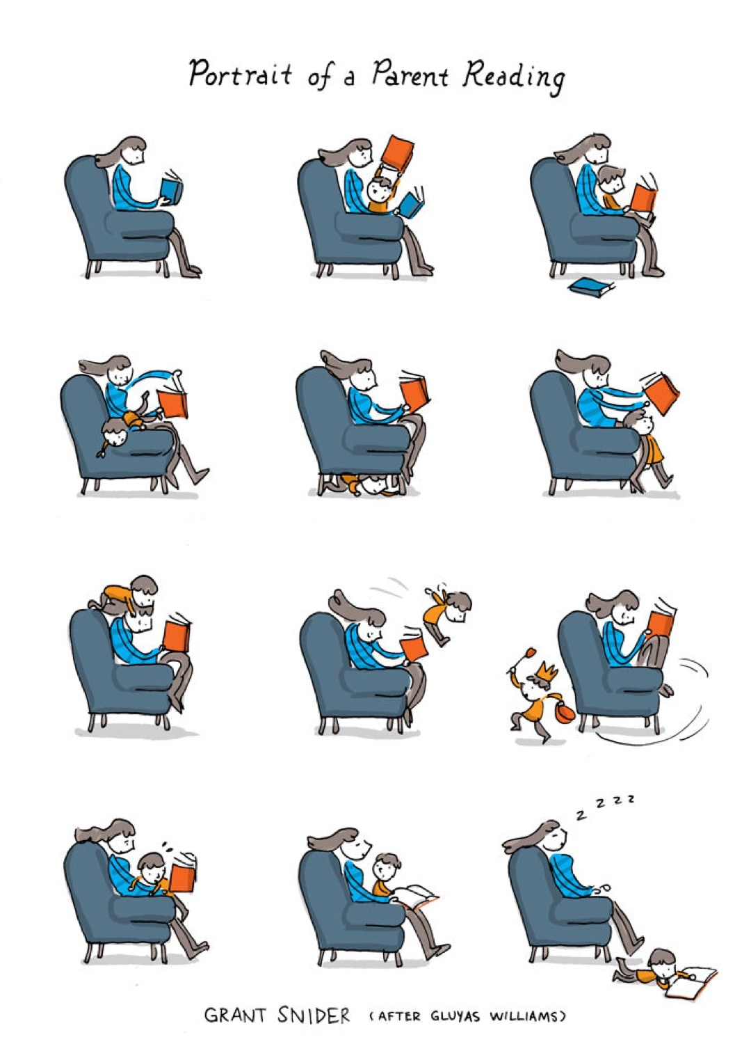 Portrait of a Parent Reading - a cartoon by Grant Snider