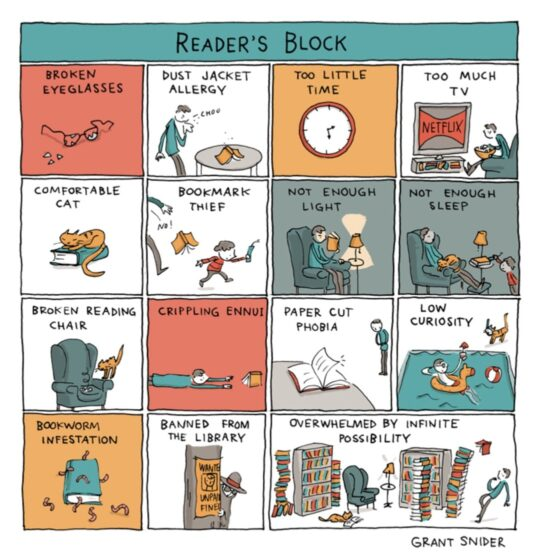 Reader's Block by Grant Snider - best cartoons about reading