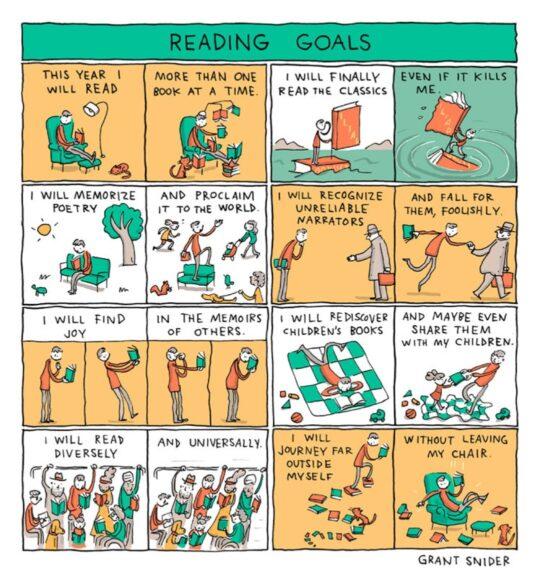 Reading Goals cartoon by Grant Snider - best cartoons