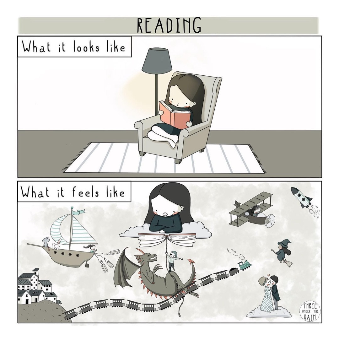 Reading What It Feels Like - best cartoons by Three Under The Rain