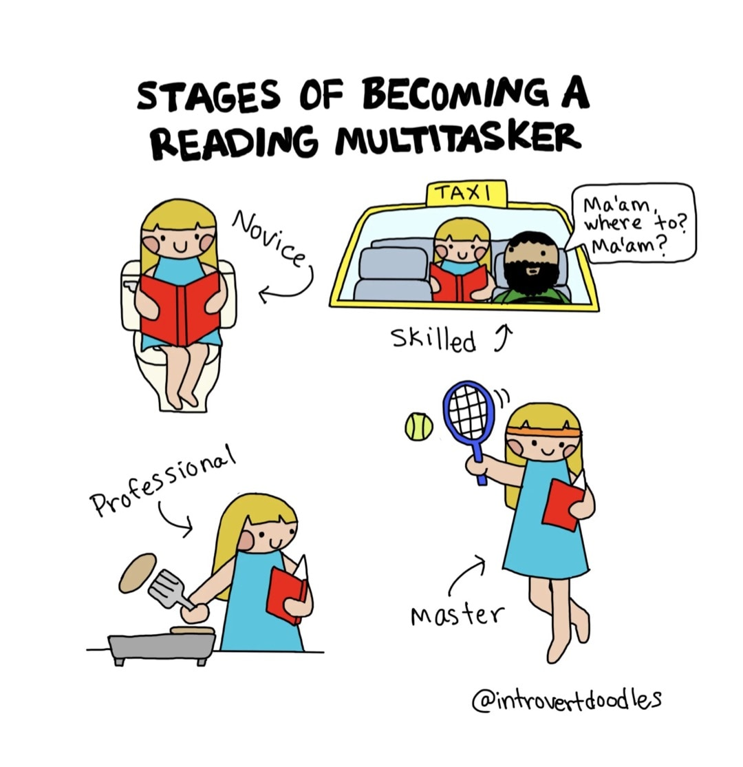 Stages of Reading Multitasker Introvert Doodles best cartoons about reading