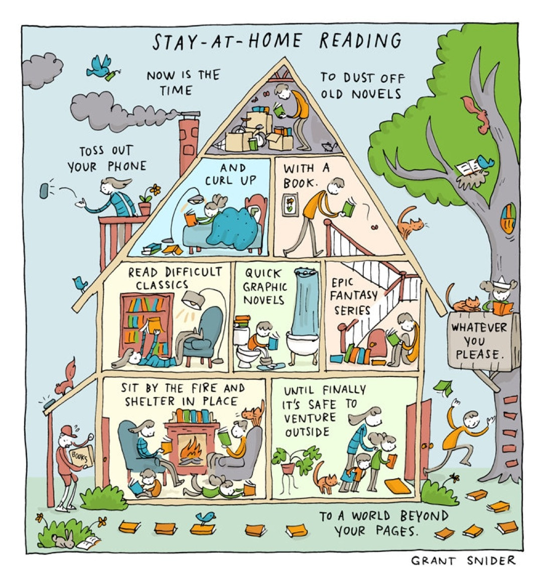 Stay-at-home Reading by Grant Snider - best cartoons about reading