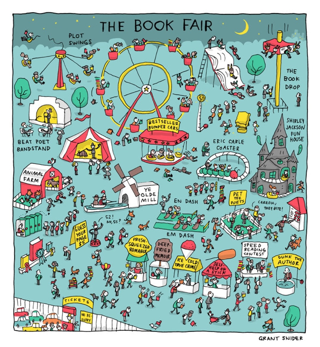 The Book Fair by Grant Snider - best cartoons about books