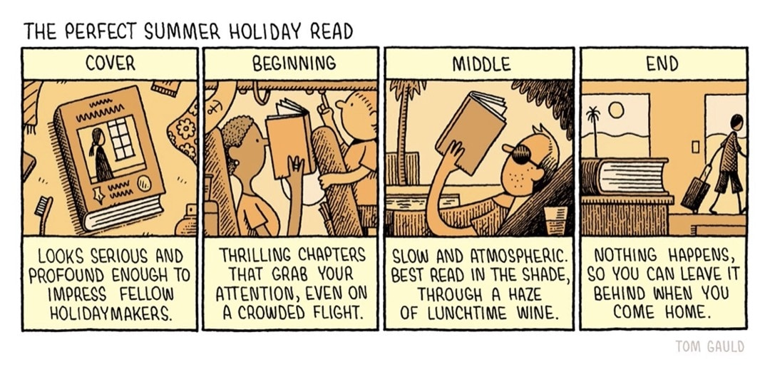 The Perfect Summer Holiday Read by Tom Gauld - best cartoons about reading