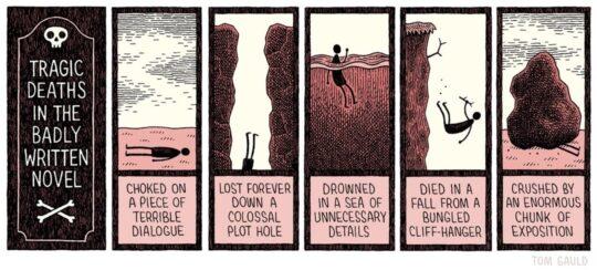 Tragic deaths in novel - best cartoons about books Tom Gauld
