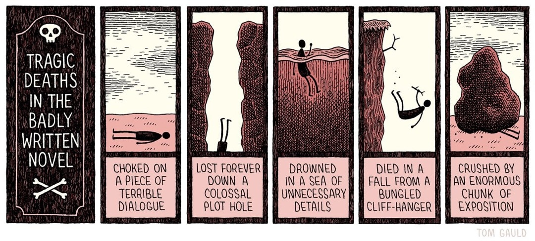 Tragic deaths in novel - best cartoons about books Tom Gauld