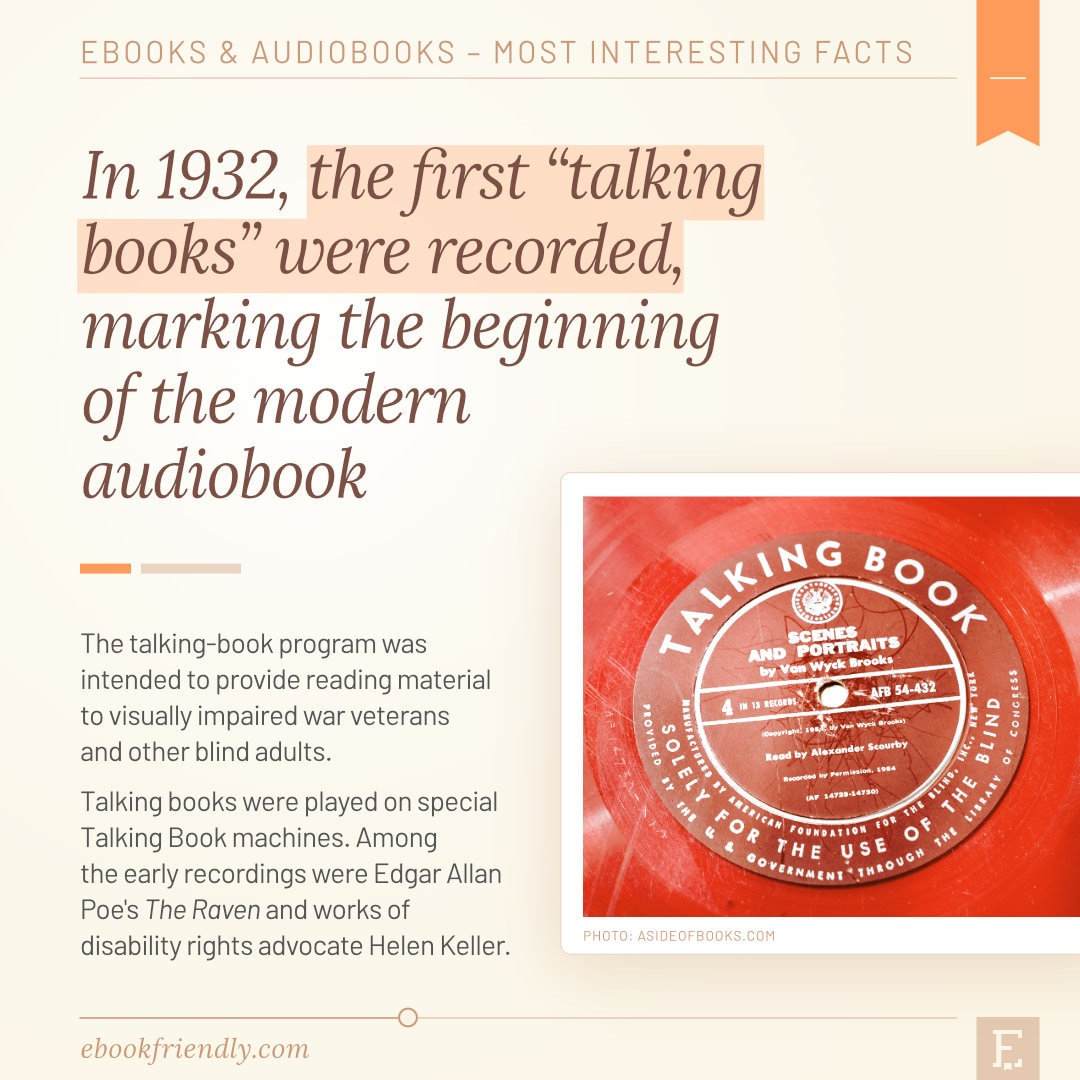 First talking books recorded 1932 - best audiobook facts history
