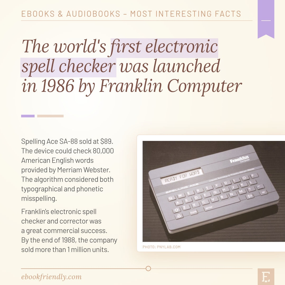Franklin Spelling Ace first electronic spell checker 1986