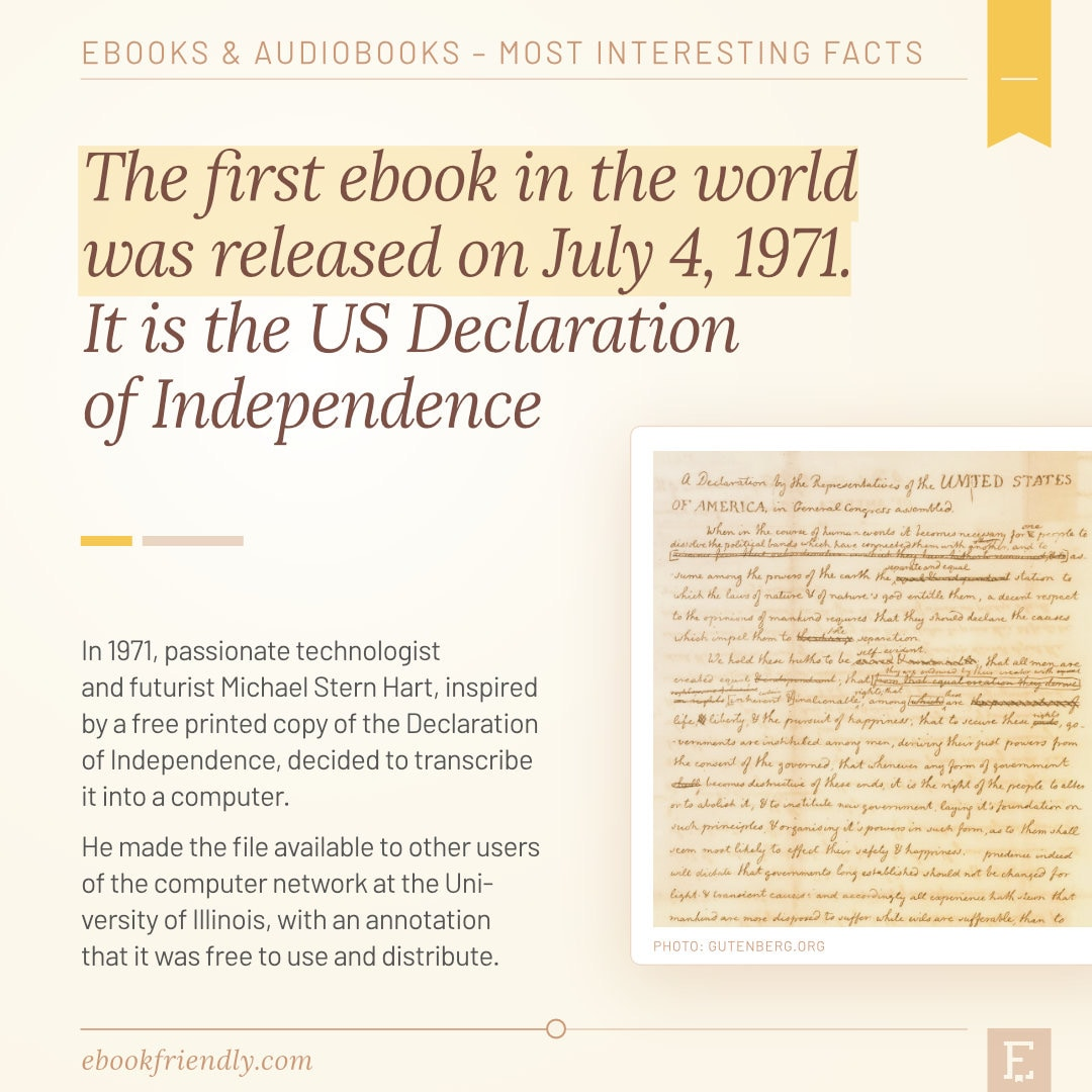 The first ebook in the world 1971 - ebooks facts history