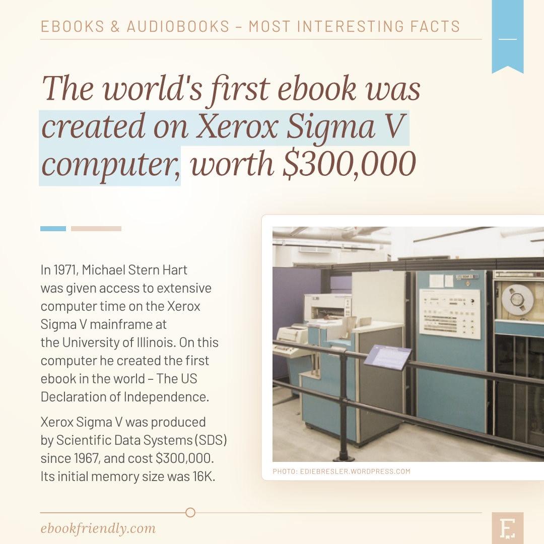 Xerox Sigma V maiframe computer first ebook in the world 1971