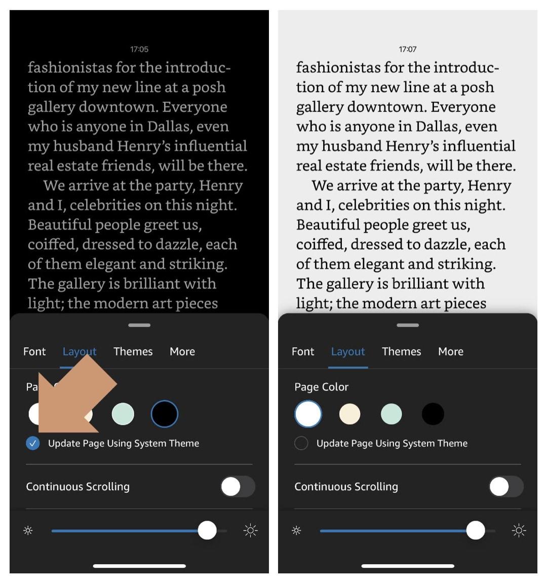 Amazon Kindle iPad - disable automatic color switcher