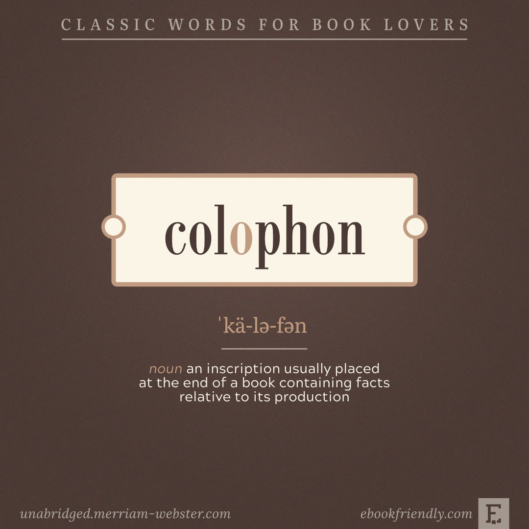 Colophon - beautiful words for book lovers