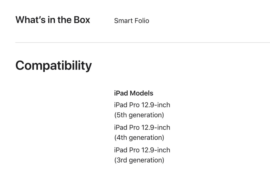 iPad Pro 12.9 2021 Smart Folio compatibility list