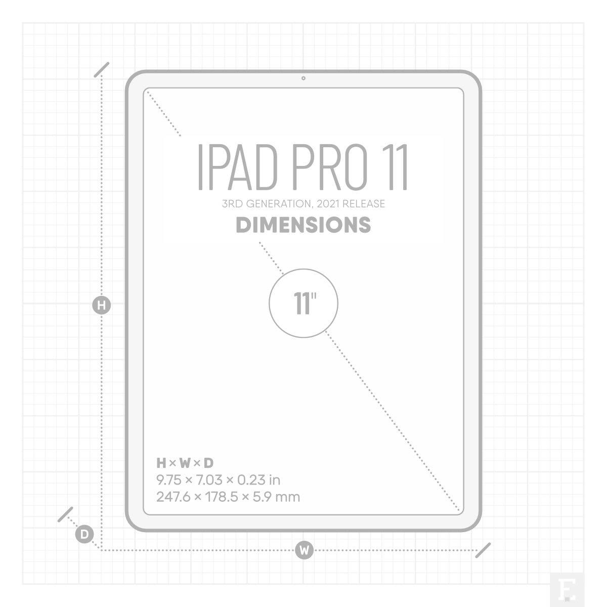 Apple iPad Pro 11 2021 model size dimensions