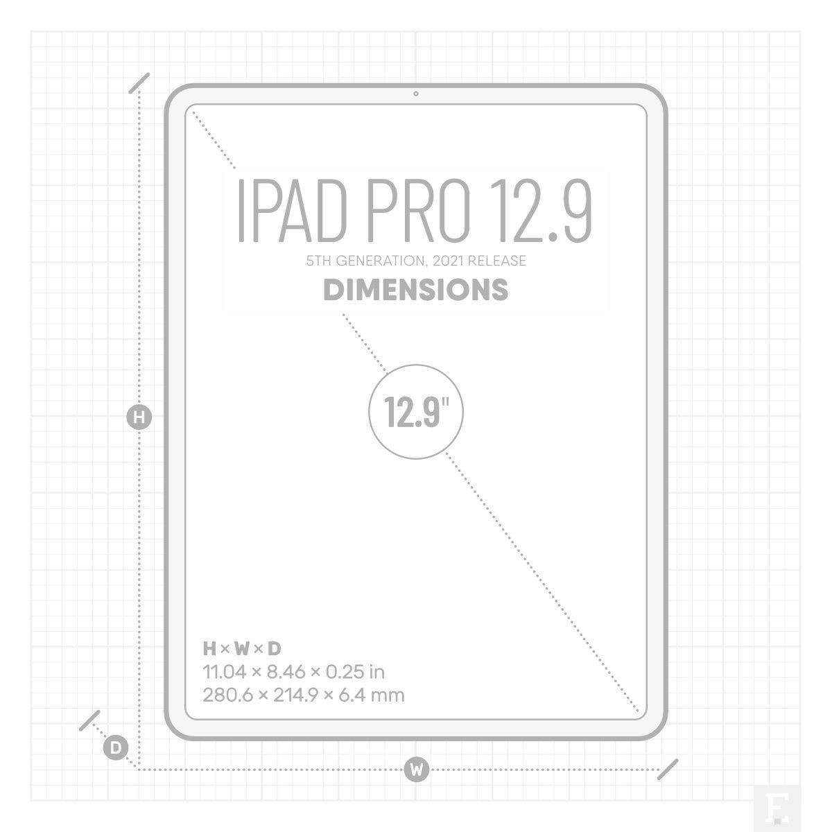 Apple iPad Pro 12.9 2021 model dimensions size