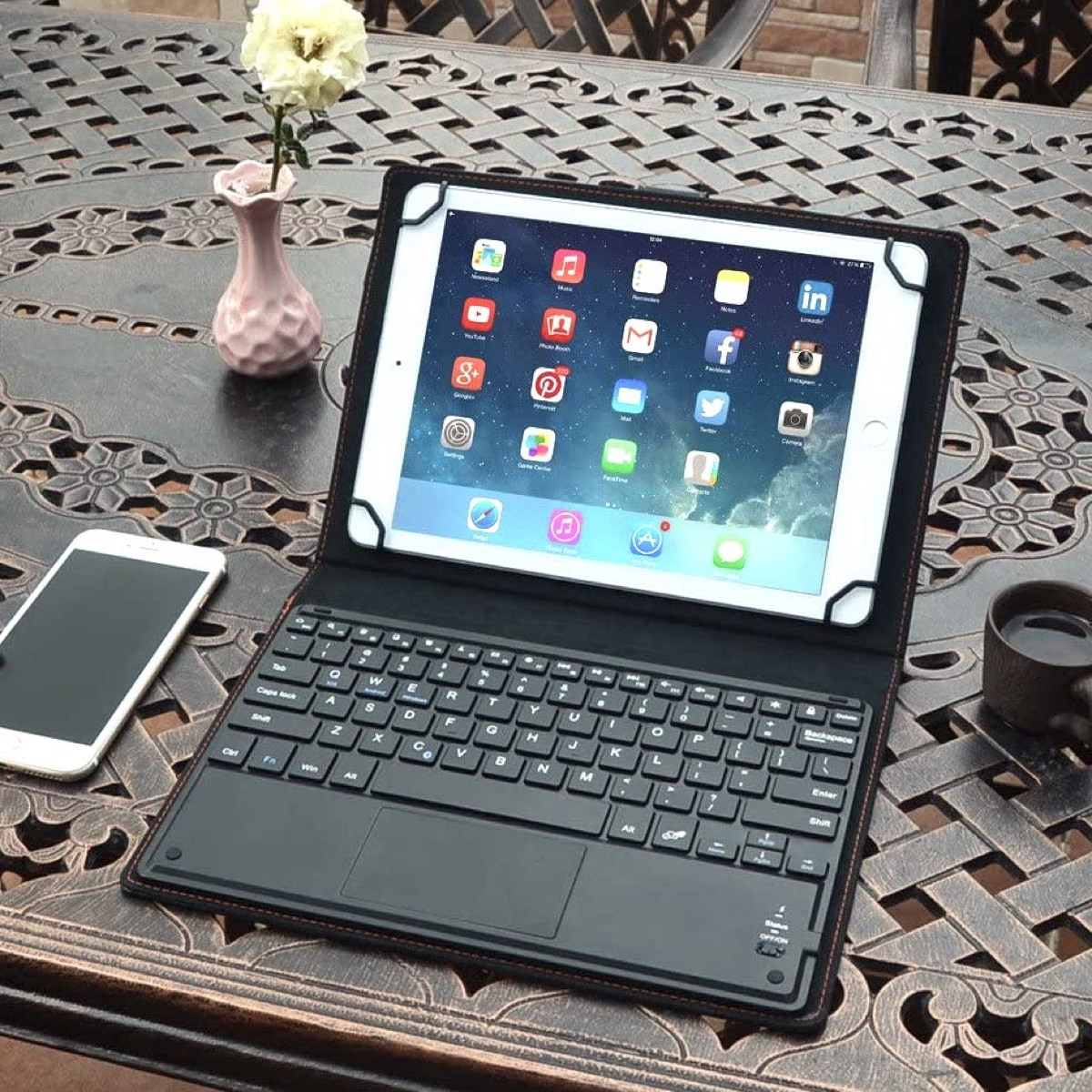 Leather folio keyboard case with touchpad Amazon Fire compatible