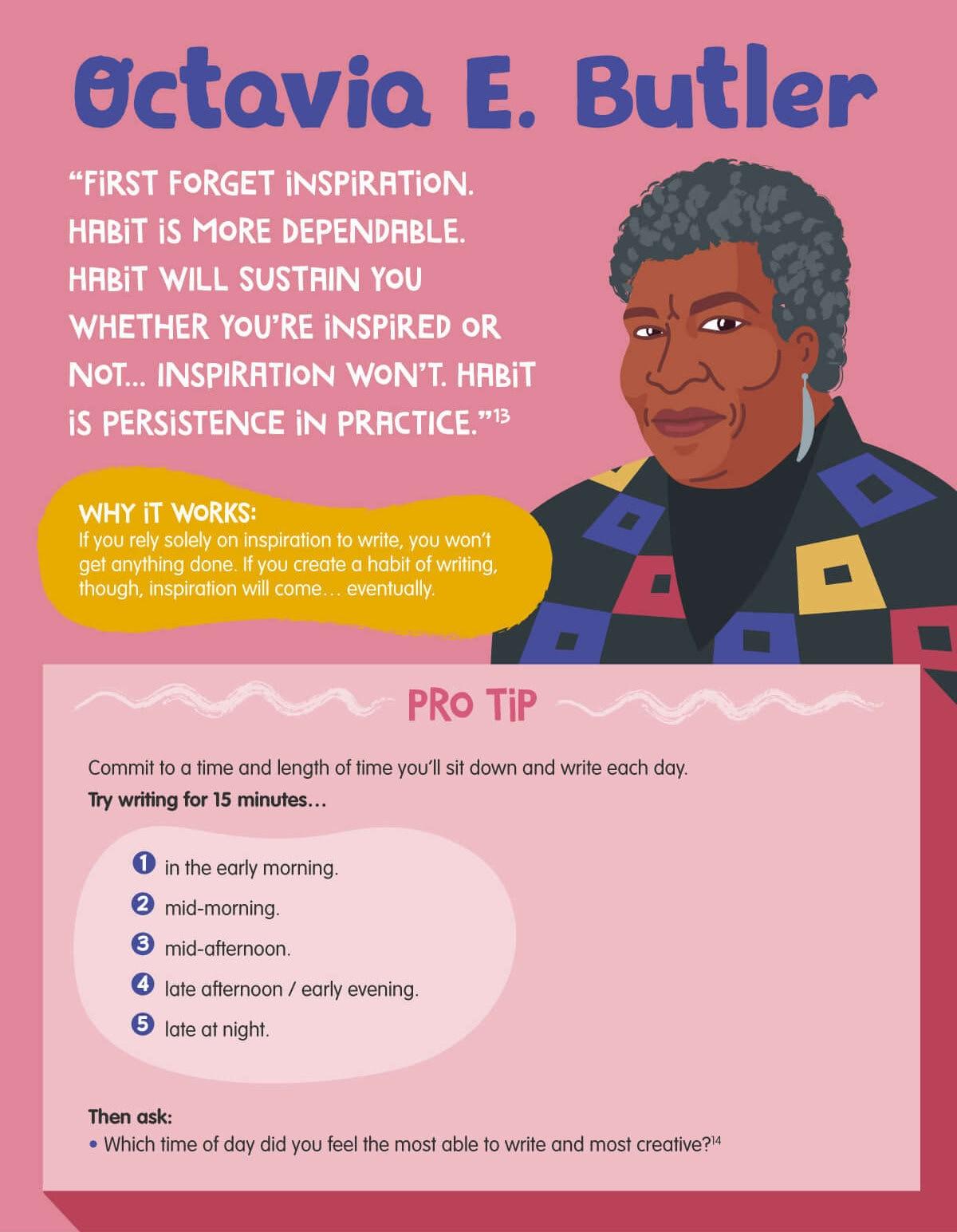 Octavia E. Butler best writing tips