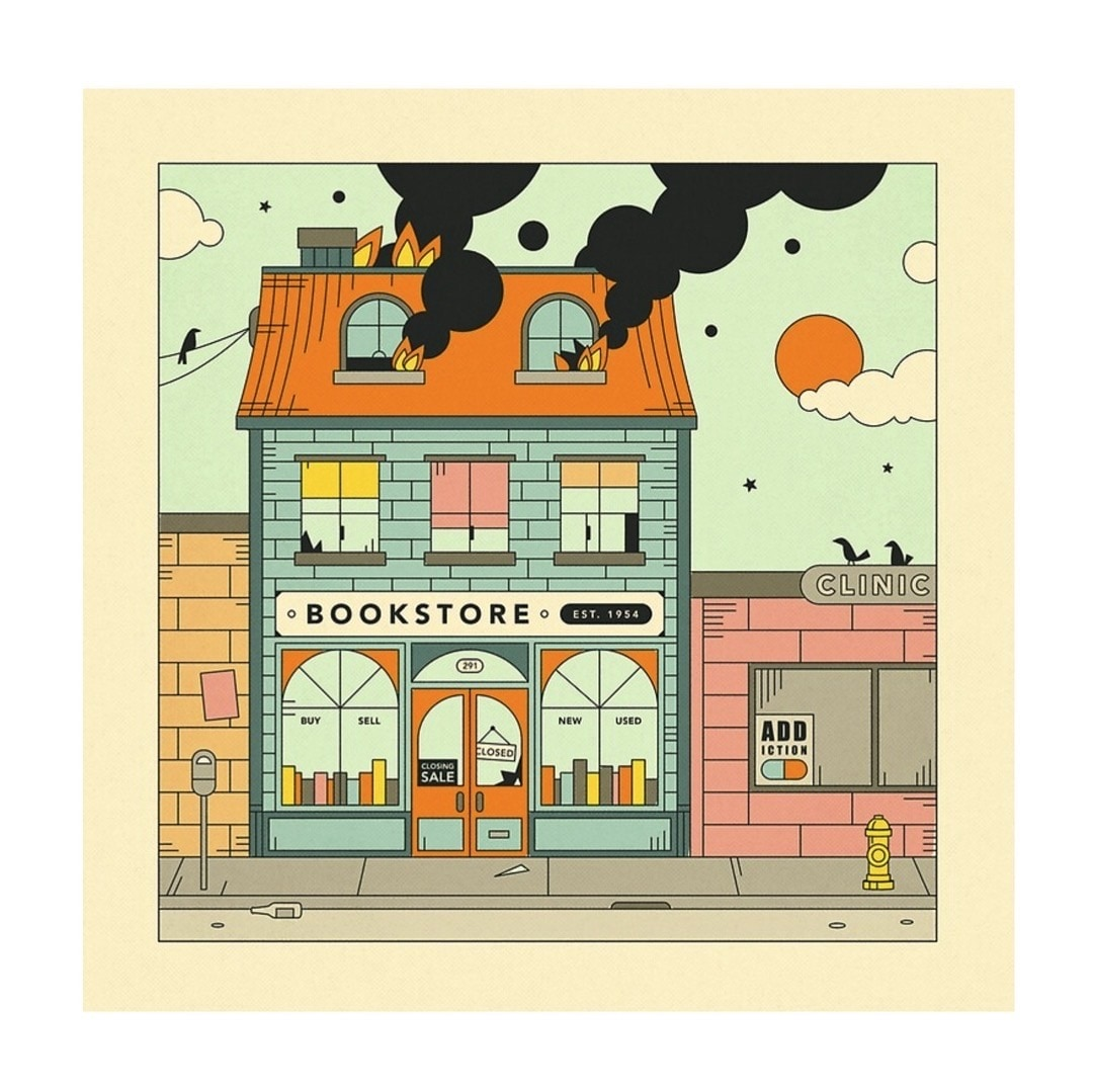 Burning bookstore poster by Jazzberry Blue - best posters