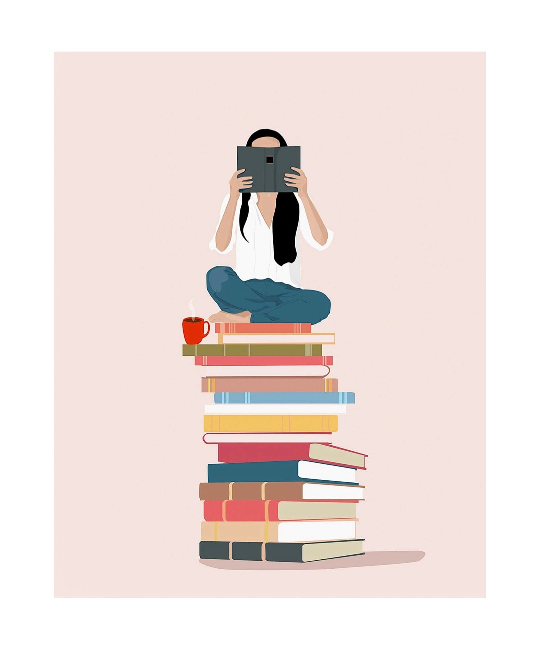 Girl reading a book - best read posters on Etsy