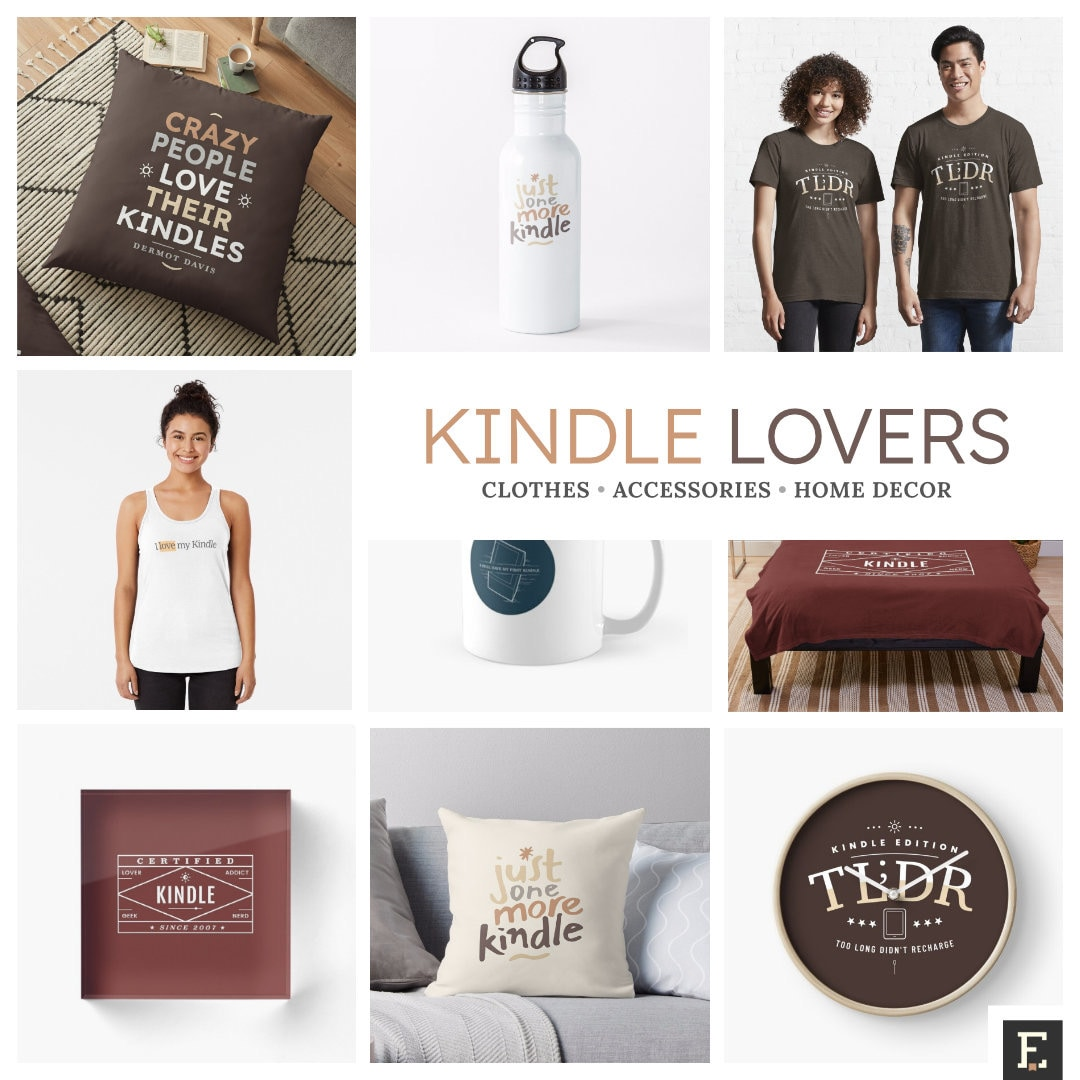 Minimalist t-shirts, accessories, home decor for Kindle lovers