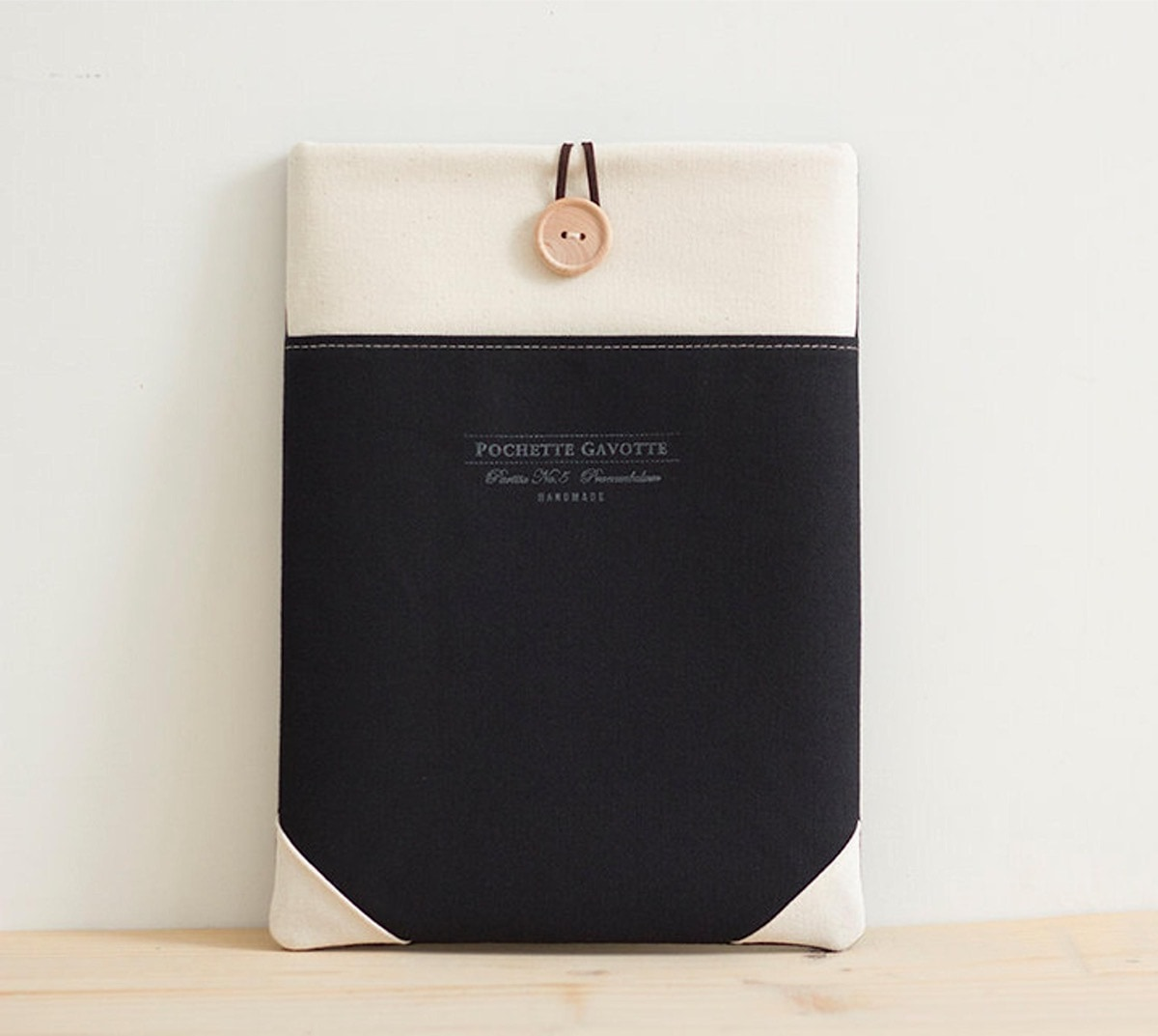 Natural cotton iPad Pro sleeve with button