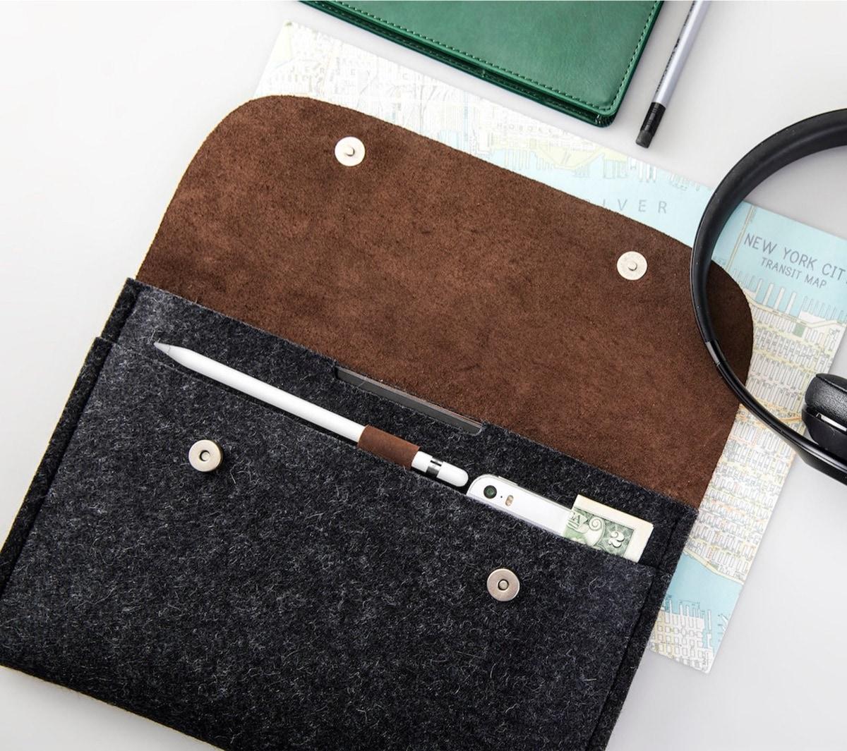 Premium leather and felt sleeve with internal Apple Pencil holder
