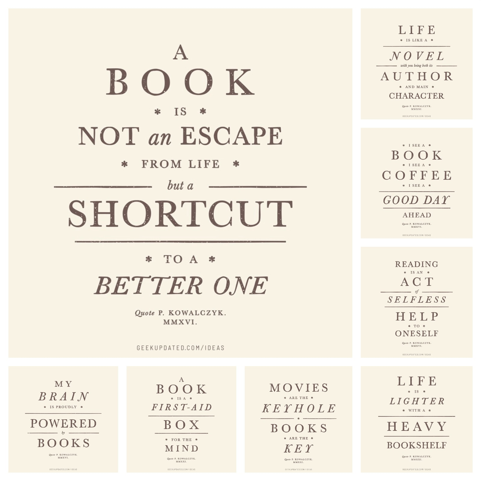Contemporary book quotes designed to look like old book titles