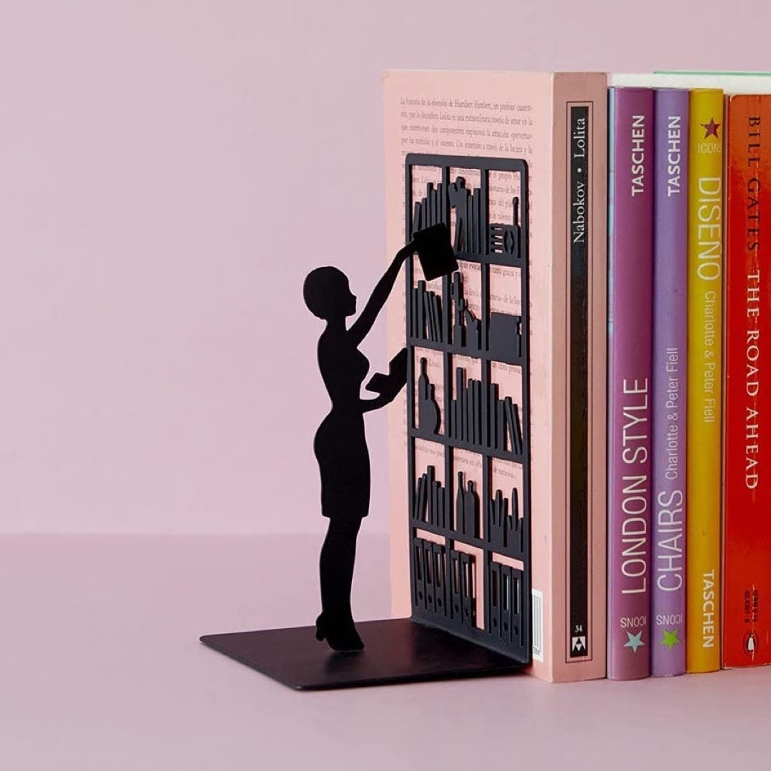 Librarian metal minimalist bookend - best gifts for library lovers