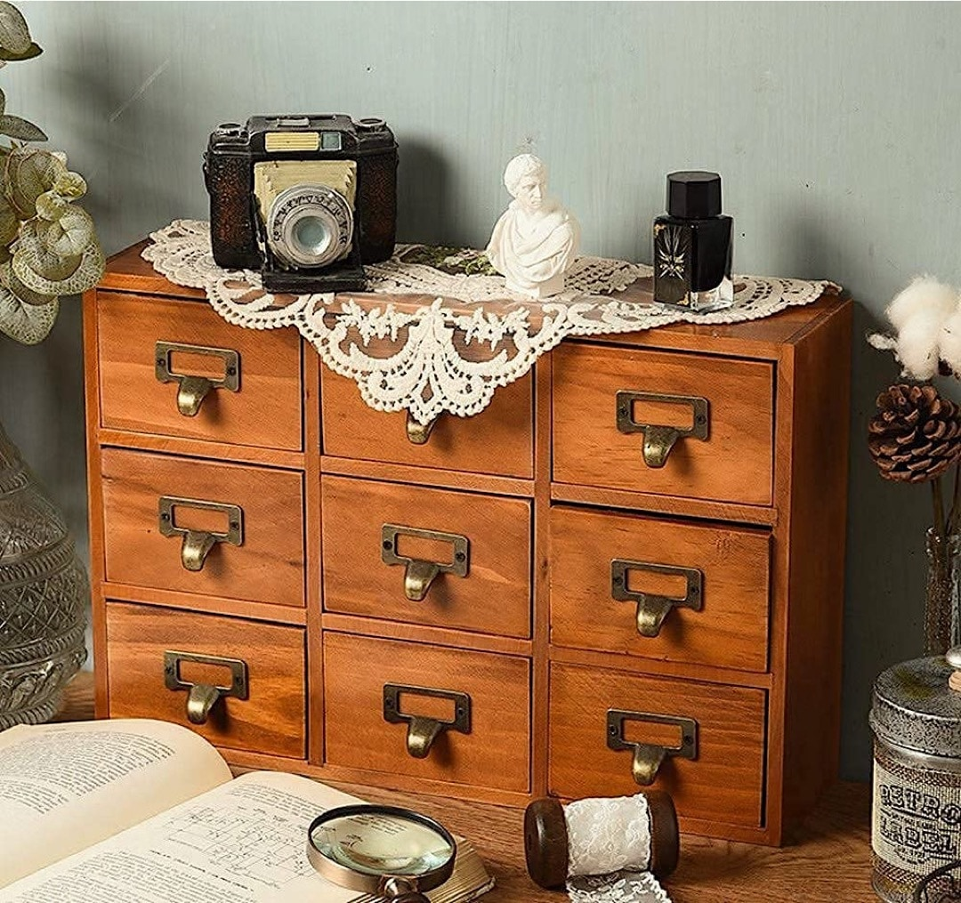 Library catalog card cabinet home decor - best gifts