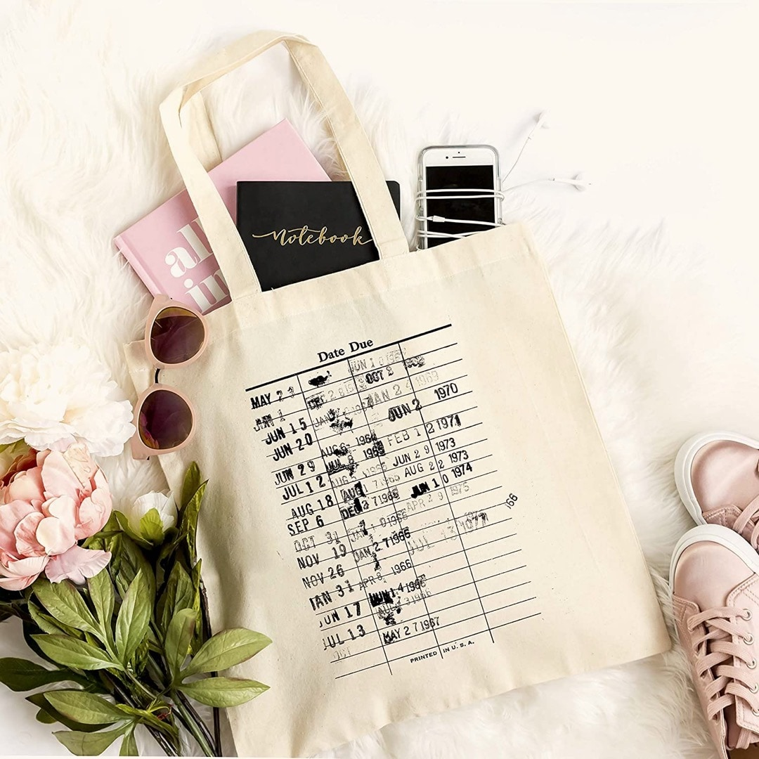 Library check out dates tote bag - best gifts for library lovers