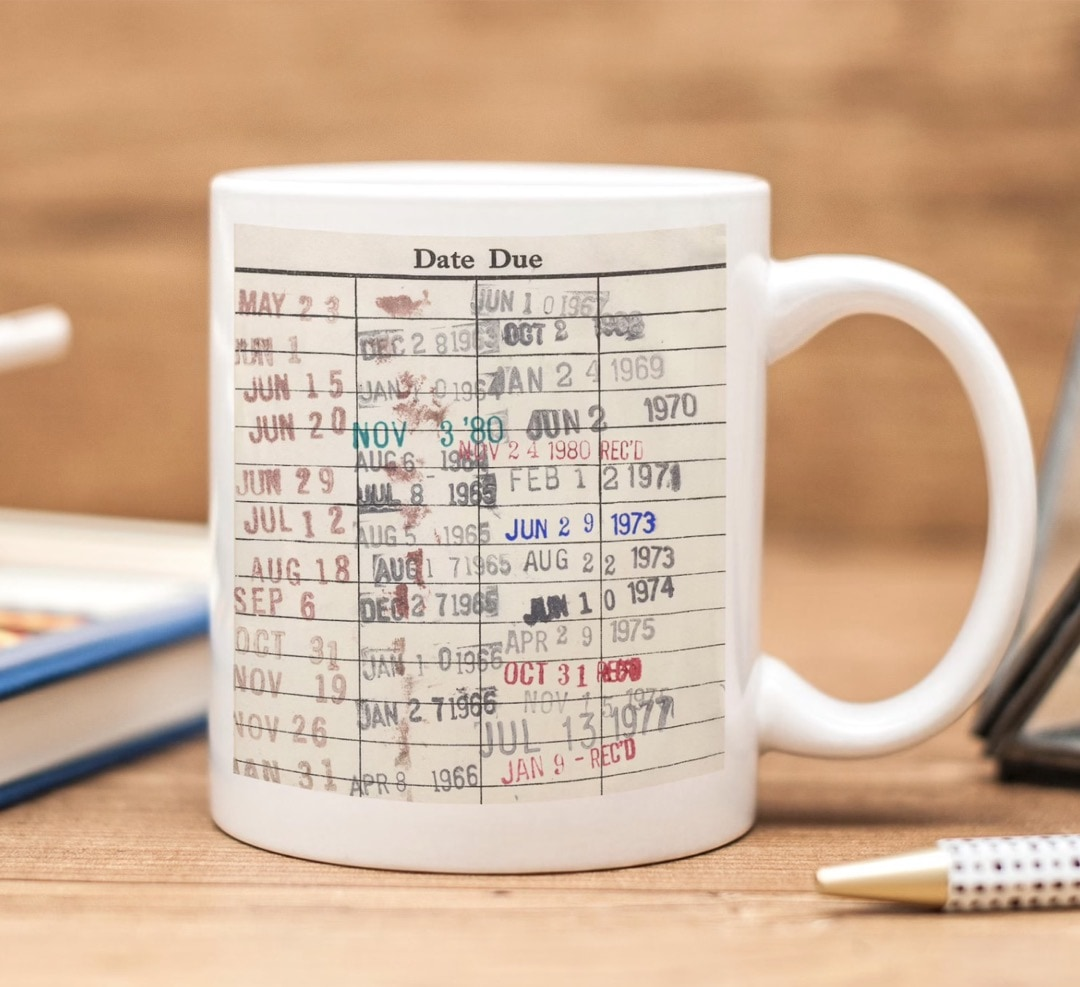 Library due date card coffee mug