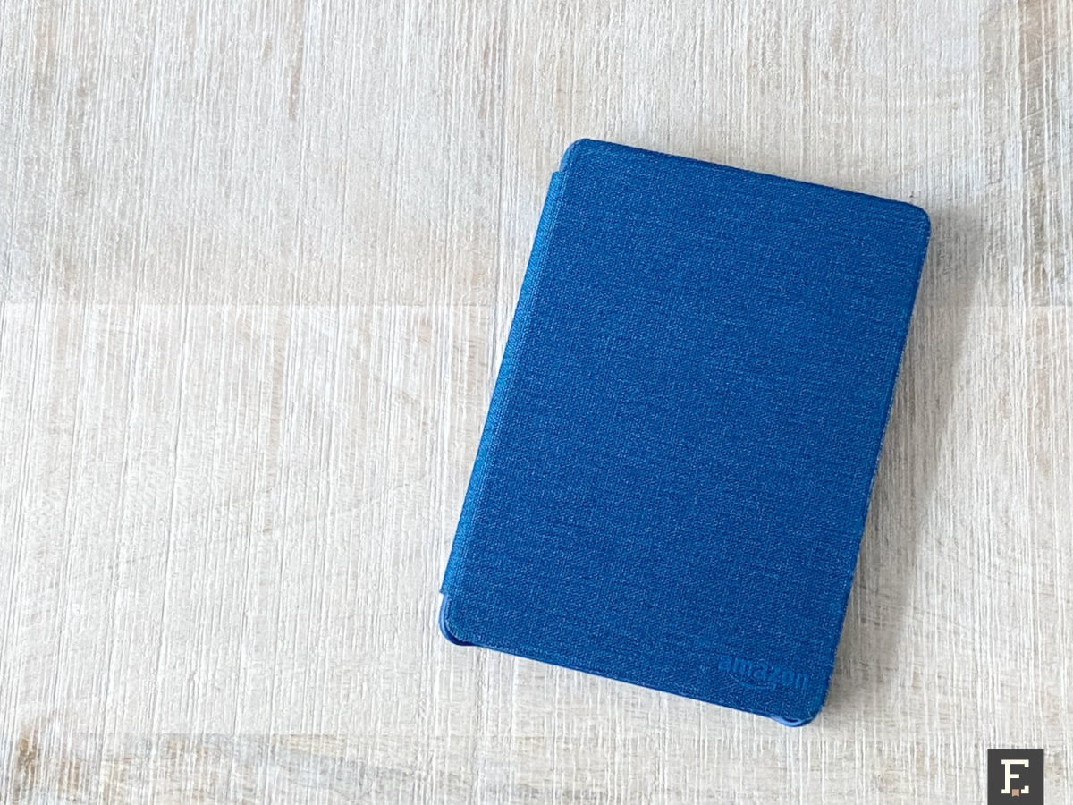 Old fabric Kindle case after renewal - front