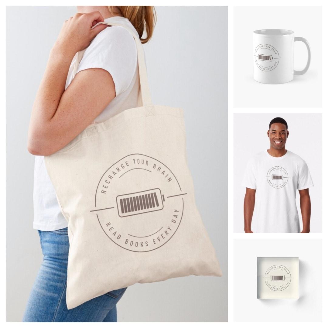 Recharge your brain read books tote bag tshirt mug